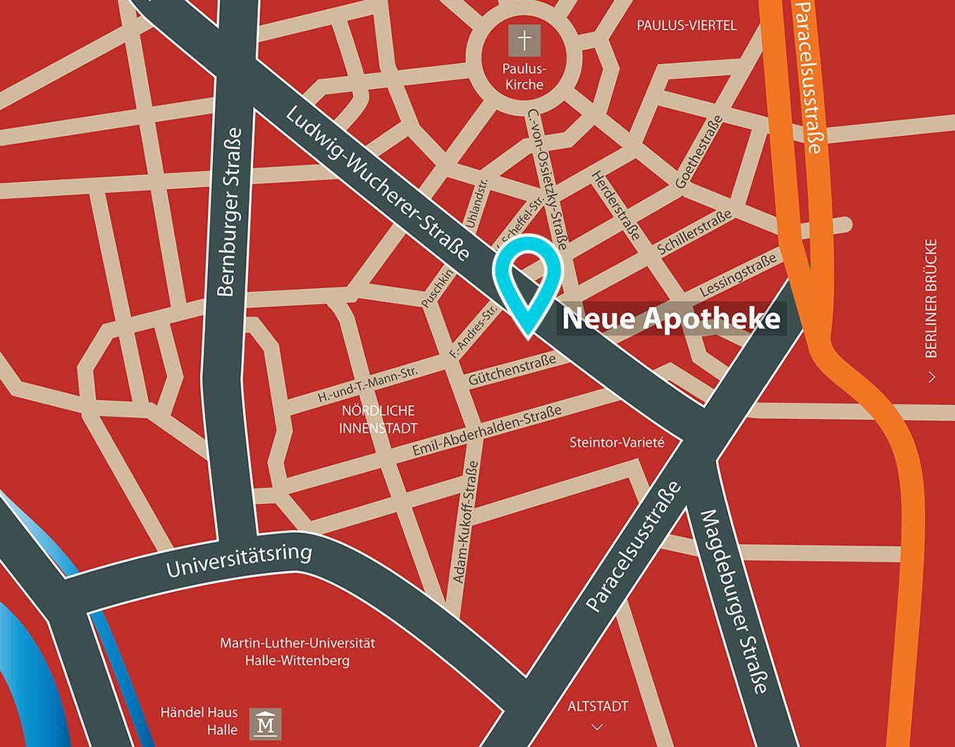 Karte von Halle Standort Neue Apotheke Ludwig-Wucherer-Str. 10 06108 Halle (Saale)